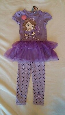 Disney Sofia the First Dress & Leggings Set/Outfit age 3-4 New Official Genuine