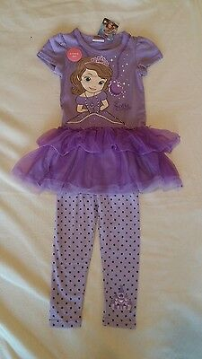Disney Sofia the First Dress & Leggings Set/Outfit age 2-3 New Official Genuine
