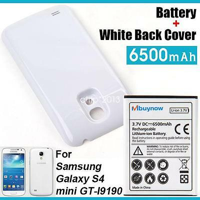 6500mAh For Samsung Galaxy S4 mini GT-i9190 Battery Extended + White Cover Case