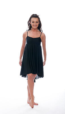 Ladies Girls Black Plain Lyrical Dress Contemporary Ballet Dance Costume By Katz