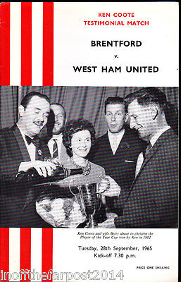 1965/66 BRENTFORD V WEST HAM UNITED 28-09-1965 Ken Coote Testimonial Match