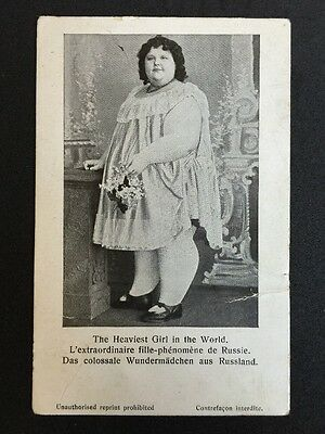 Vintage Circus Postcard - Heaviest Girl In The World - Russian Card c1907