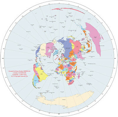 Custom Great Circle Map - Centred on any Coordinate...