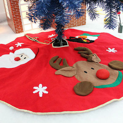 Large Santa Claus Father Christmas Tree Skirt Base Floor Stand Cover 106Cm