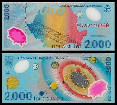 Romanian 2000 (2,000) Lei 1999 Polymer Plastic Banknote Total Sun Eclipse