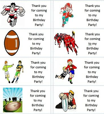40 x Personalised Rugby/Ball/Scrum/Try labels/stickers/birthday/party/sweet/bag