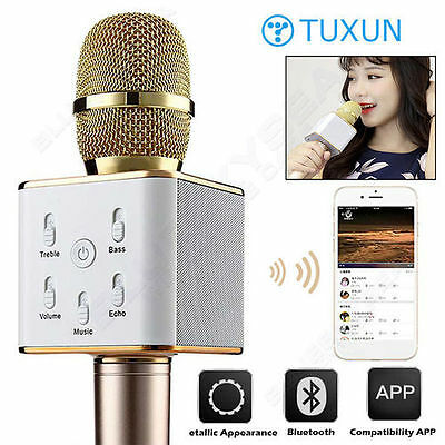 Q7 Home KTV Karaoke Microphone Player Bluetooth Speaker For PC Phone Tablet Gold