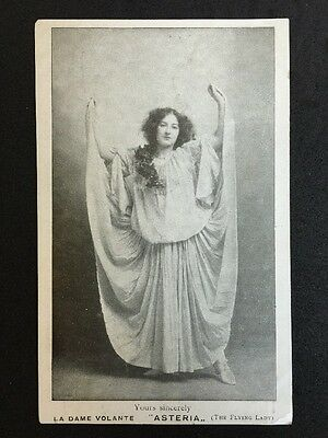 "Vintage Circus Postcard - La Dame Volante ""Asteria"" The Flying lady"