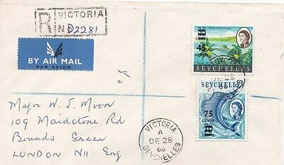 Seychelles 1966 Registered Air mail from Victoria to London, England.