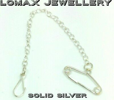 Sterling silver brooch safety chain and clip 925