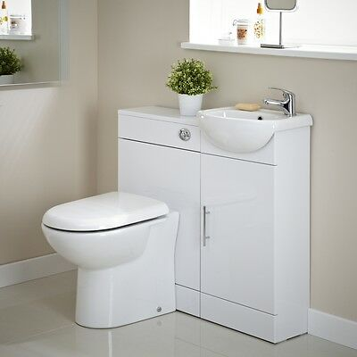 White Gloss Vanity Unit Bathroom WC Toilet Basin Sink Compact Cloakroom Suite
