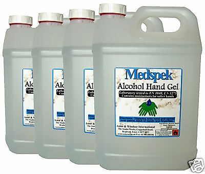 Alcohol hand gel antibacterial sanitiser 4 X 5 Litre WITH 4 pumps one for each**