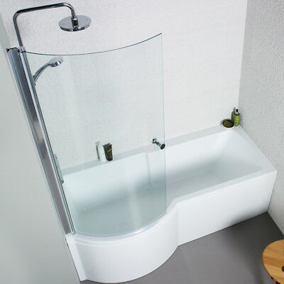 White Acrylic 1700mm Front / 700mm End Bath Panels For P Shaped Shower Baths
