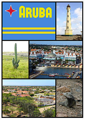 Aruba (Montage) - Souvenir Novelty Fridge Magnet - New - Little Gifts / Xmas