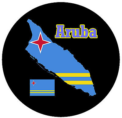 Aruba - Map / Flag - Round Souvenir Fridge Magnet - Brand New - Little Gifts