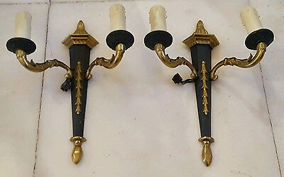 Pair of French Empire Gilt and Patinated Bronze Sconces 2-lights