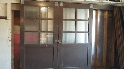 PAIR large Antique CARRIAGE HOUSE DOORS 8x8 with leaded glass - Wetumpka Alabama