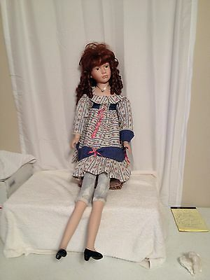"""Beautiful Vintage Goldenvale Large 36"""" Bisque Doll with Red Hair and Cloth Body"""