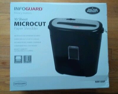 Infoguard 10 Sheet Micro-cut Paper and Credit Card Shredder  NEW IN BOX