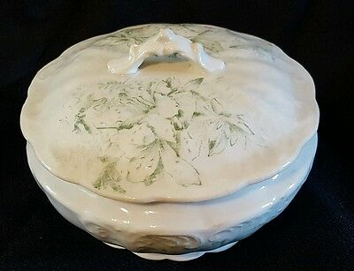 Vintage Antique White Ironstone Green Floral Covered Dish Soap