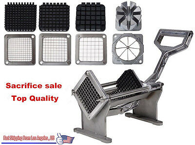 Potato French Fry Fruit Vegetable Commercial Cutter Slicer Cutting W/ 4 Blades##