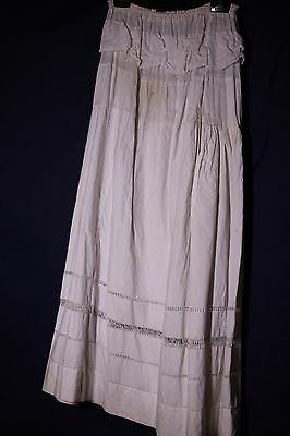 Vintage Petticoat Victorian Skirt Edwardian Slip White Fancy Trim