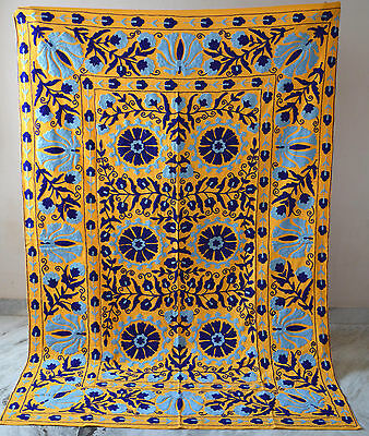 Embroidered Vintage Suzani Hand Quilt Twin Bedding Blanket Bohemian Throw SZ06