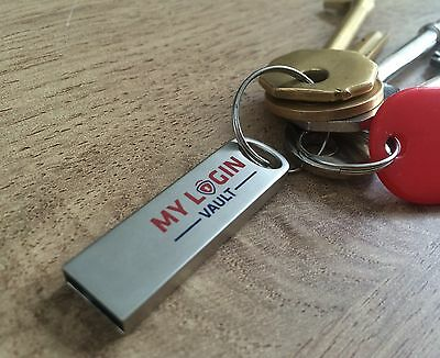 My Login Vault USB Password Manager - Key Ring Style X10
