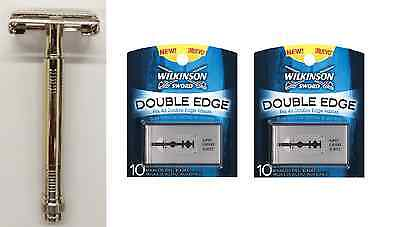 Metal Double Edge Butterfly Safety Razor + 20 Wilkinson Sword Double Edge Blades
