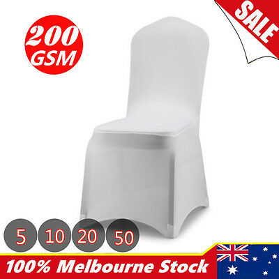 5 10 20 50 Lycra Spandex Stretch Chair Cover Wedding Party White Event Banquet