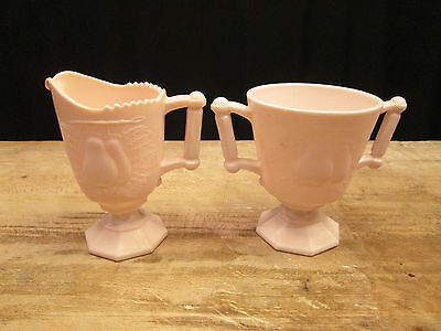 Jeanette SHELL PINK Baltimore Pear Creamer and Sugar Set Pink Milk Glass
