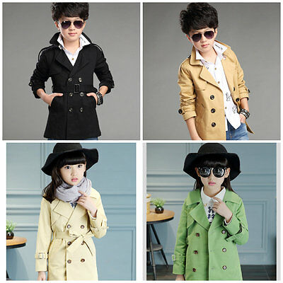 KIDS Trench Coat Wind Coat Double Breasted Deluxe 100% CottonSize 3-16 YRS
