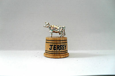 Wood And Metal Thimble - Jersey Cow