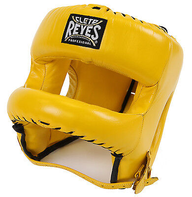 Cleto Reyes Redesigned Leather Headgear with Nylon Face Bar - Yellow