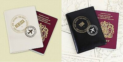 Personalised Cream Black Stamped Passport Holder Leather Cover Gift For Him Her