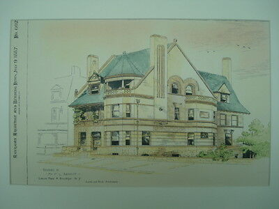 Residence of Mr. F. L. Babbott, Brooklyn, NY, 1887, Original Plan