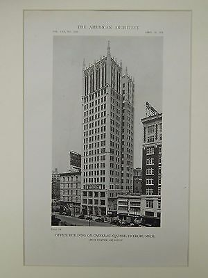 Office Building on Cadillac Square, Detroit, MI, 1919, Lithograph