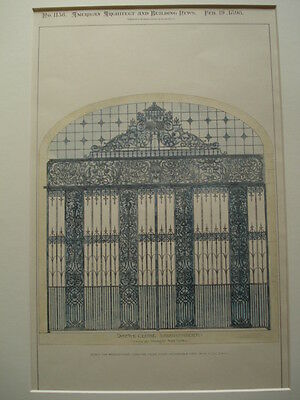 Wrought-Iron Gate for Dacre Court, Westminster, England, 1898- Original Plan