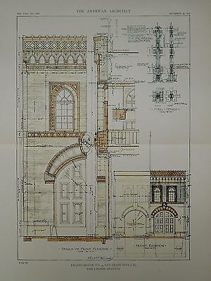 Details & Elevation, Engine House No. 4,  San Francisco, CA, 1918, Original Plan
