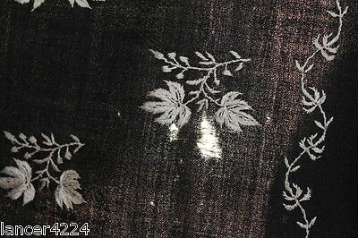 Antique Kashmiri Hand Woven And Hand Embroidered Black Shawl Signed