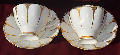 Royal Vale white and gold cup & saucer X 2 /A/F