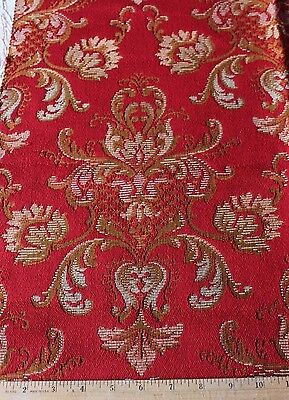 """French Victorian c1890 Red Frame Woven Jacquard Fabric~Xmas Dec~24""""L X 30""""W"""