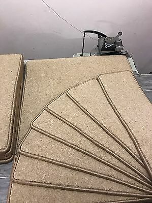 14 X Top Quality Wool Stair Tread Pads & Mat In Beige Cheap !! ��