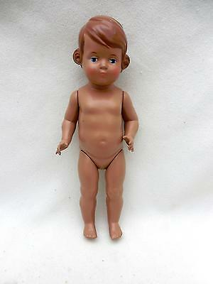 "CUTE Vintage Celluloid / Plastic 9.5"" Young Girl Doll  Tortulon Light Brown Hair"