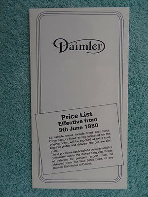 Daimler Price List June 1980 - Sovereign,Double-Six,Vanden Plas, V12, Limousine