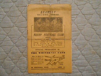 Bramley V Whitehaven Rugby League Match Programme March 1954