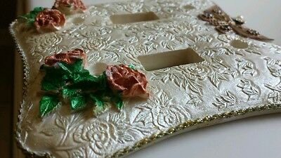 Lot 2 victorian treasures ROSES butterfly DOUBLE LIGHT SWITCH PLATE COVERs vtg