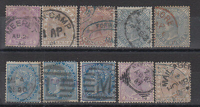 India 1870's A Useful Card Of 10 early Stamps To 1R For Sorting SG79+