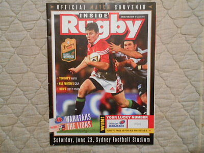 Waratahs V British Lions Rugby Series Lions Tour Match Programme 2001
