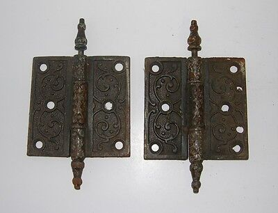 "Antique Vintage Set of 2 Victorian 3-1/2"" x 3-1/2"" Steeple Pin Door Hinges"